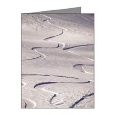 Skiing tracks in the snow Note Cards (Pk of 20)