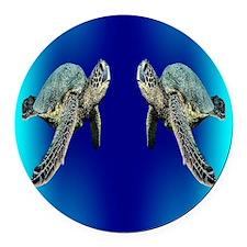Green Sea Turtle Round Car Magnet