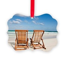 Beach chairs in the sand Ornament
