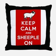 Keep Calm and Sheeple On! Throw Pillow