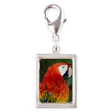 Scarlet macaw Silver Portrait Charm