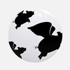 When Pigs Fly Round Ornament