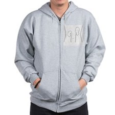 Black and white illustration of Wilms'  Zip Hoodie