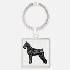 Giant Schnauzer Standing Profile Square Keychain