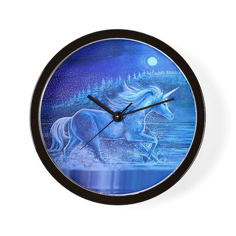 White Unicorn in River Wall Clock