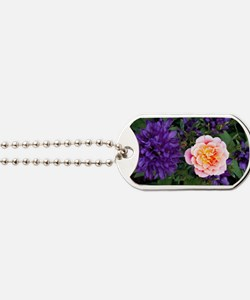 Rose flower and clustered bellflowers Dog Tags