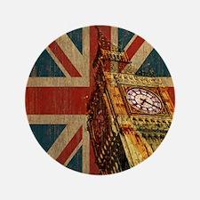 """Vintage Union Jack 3.5"""" Button"""