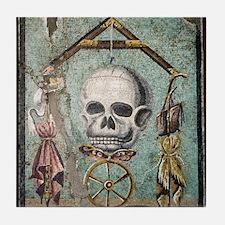 Roman memento mori mosaic Tile Coaster