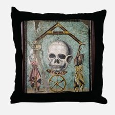 Roman memento mori mosaic Throw Pillow