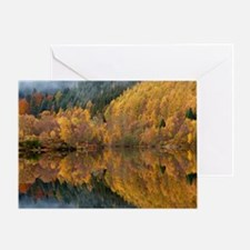 Reflections of autumn colours in loc Greeting Card