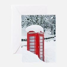 Red telephone box in heavy snow Greeting Card