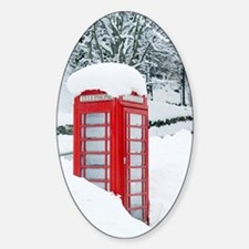 Red telephone box in heavy snow Decal