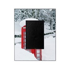 Red telephone box in heavy snow Picture Frame