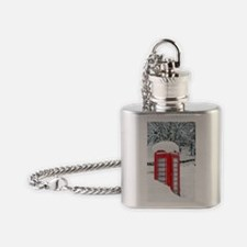 Red telephone box in heavy snow Flask Necklace