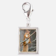 Red squirrel on a branch Silver Portrait Charm