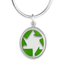 Recycling sign Silver Oval Necklace