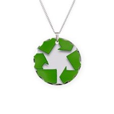 Recycling sign Necklace Circle Charm