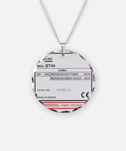 Rating plate on microwave ov Necklace Circle Charm