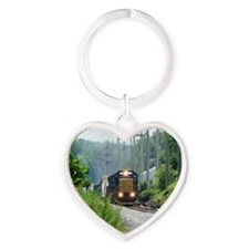 Freight Train on single track Heart Keychain