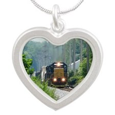 Freight Train on single trac Silver Heart Necklace