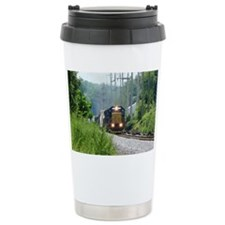 Freight Train on single track Travel Mug