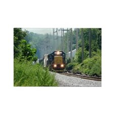 Freight Train on single track Rectangle Magnet