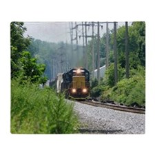 Freight Train on single track Throw Blanket
