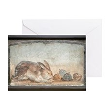 Rabbit and figs, Roman fresco Greeting Card