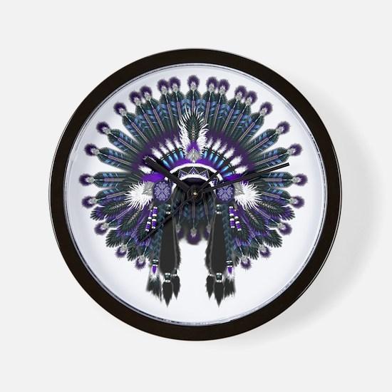 Native War Bonnet 04 Wall Clock