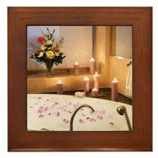 Bubble bath with candles and flower pe Framed Tile