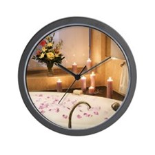 Bubble bath with candles and flower pet Wall Clock