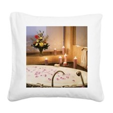 Bubble bath with candles and  Square Canvas Pillow