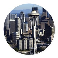 Downtown Seattle Round Car Magnet