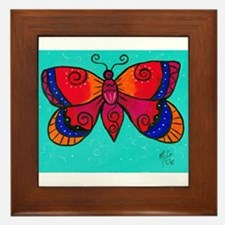 Orange and Blue Butterfly Framed Tile