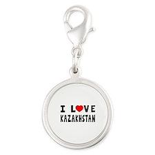 I Love Kazakhstan Silver Round Charm