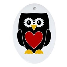 Black Owl With Red Heart Ornament (Oval)