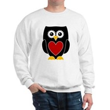 Black Owl With Red Heart Sweatshirt