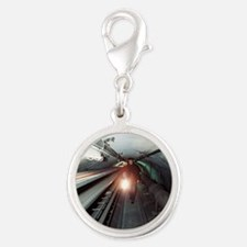 Quantum entanglement tunnel Silver Round Charm
