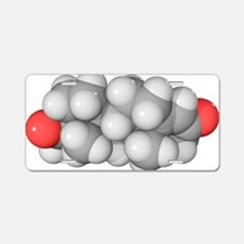 Progesterone hormone, molec Aluminum License Plate