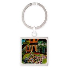 Fluffing Like Crazy Quilt Square Keychain