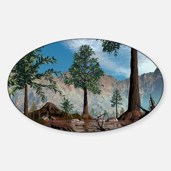 Prehistoric trees, artwork Sticker (Oval)