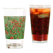 Poppies growing in a field of oats Drinking Glass