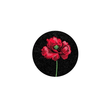 Poppy flower, woodcut Mini Button