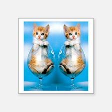 """Orange Kitten in Class Flip Square Sticker 3"""" x 3"""""""