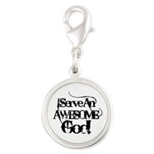 Grunge Awesome God Silver Round Charm