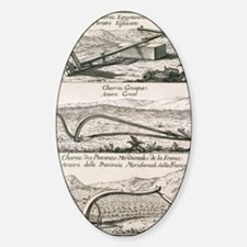 Plough types, 18th century artwork Sticker (Oval)