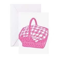 Pink Picnic Basket Greeting Cards (Pk of 10)