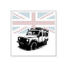 "Union Jack Land Rover Defen Square Sticker 3"" x 3"""
