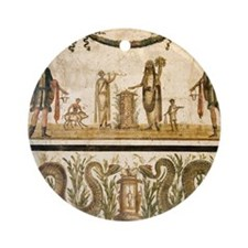 Pig sacrifice, Roman fresco Round Ornament
