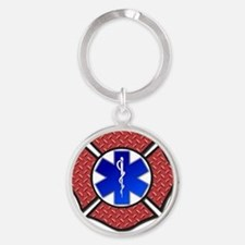 Steel Plate Maltese Cross and Star  Round Keychain